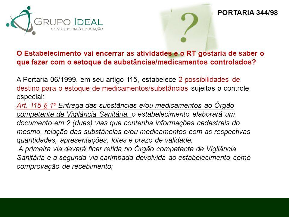 PORTARIA 344/98 O Estabelecimento vai encerrar as atividades e o RT gostaria de saber o.
