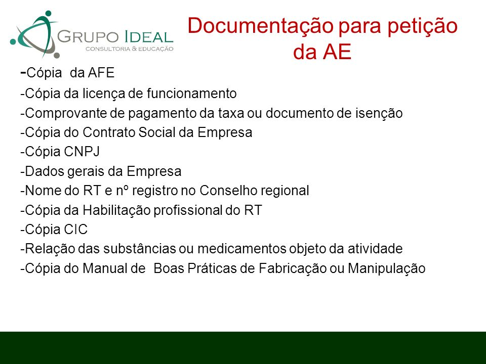 Documentação para petição da AE