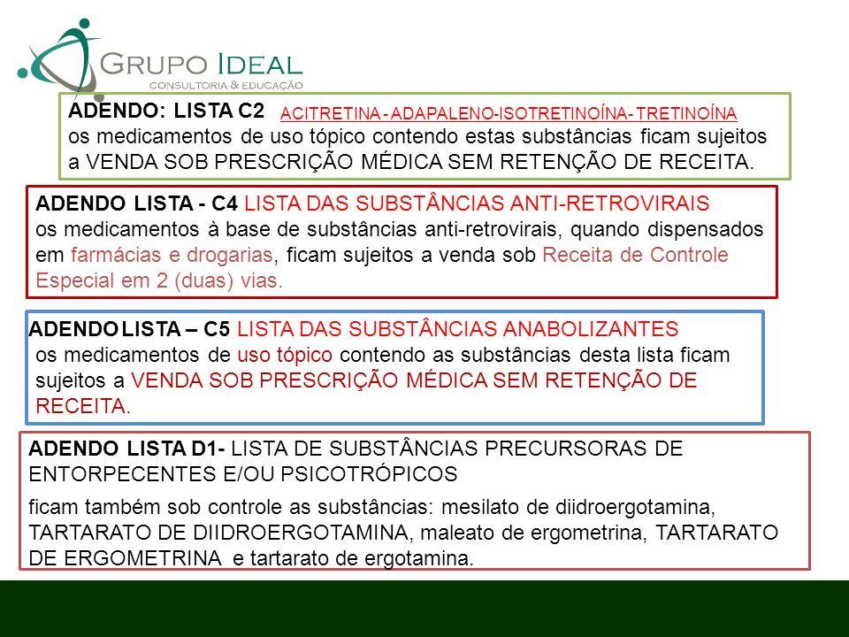 ADENDO LISTA - C4 LISTA DAS SUBSTÂNCIAS ANTI-RETROVIRAIS