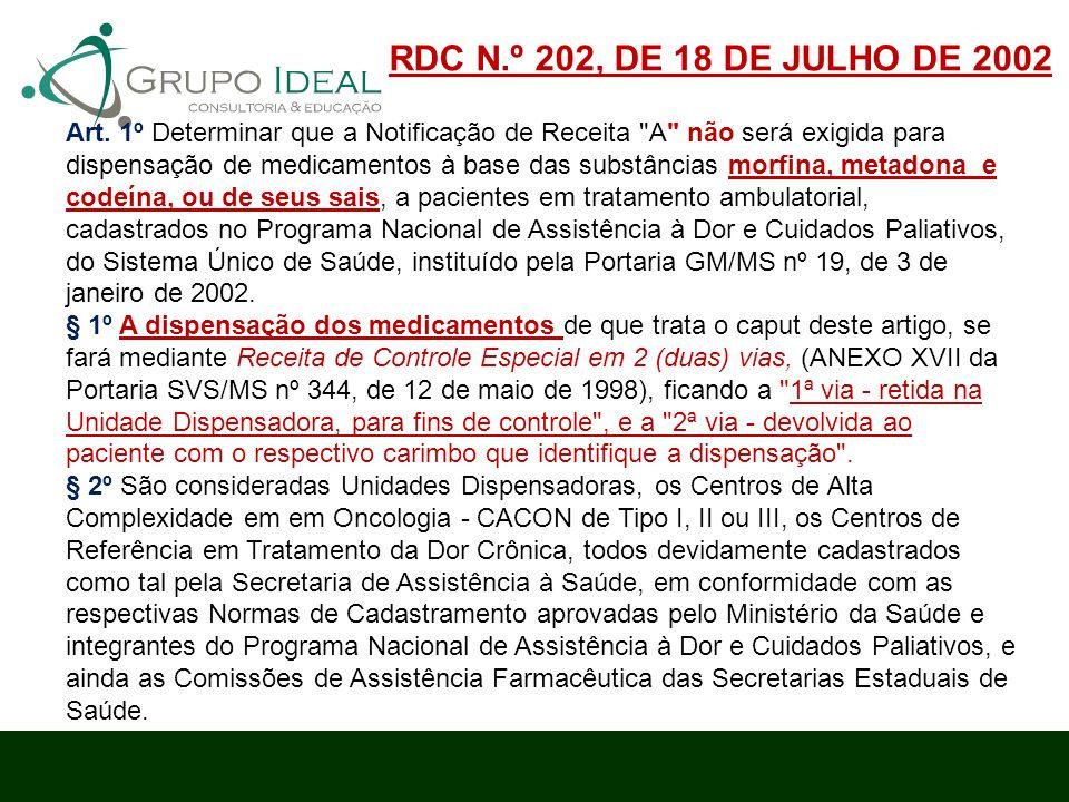 RDC N.º 202, DE 18 DE JULHO DE 2002