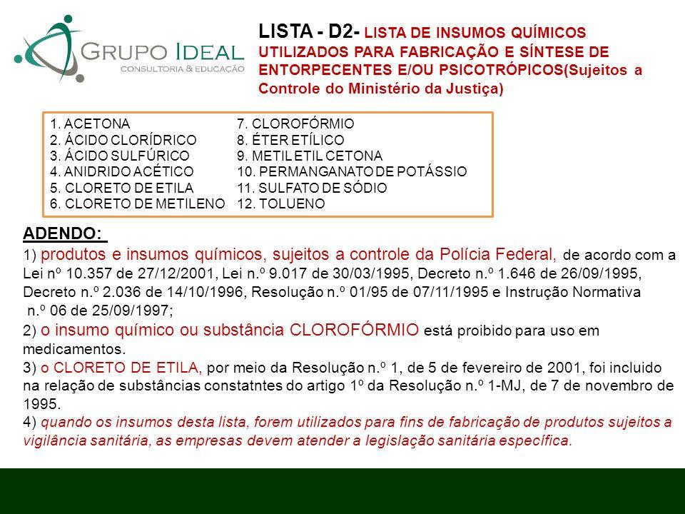LISTA - D2- LISTA DE INSUMOS QUÍMICOS UTILIZADOS PARA FABRICAÇÃO E SÍNTESE DE ENTORPECENTES E/OU PSICOTRÓPICOS(Sujeitos a Controle do Ministério da Justiça)