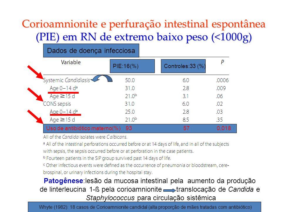 Corioamnionite e perfuração intestinal espontânea (PIE) em RN de extremo baixo peso (<1000g)
