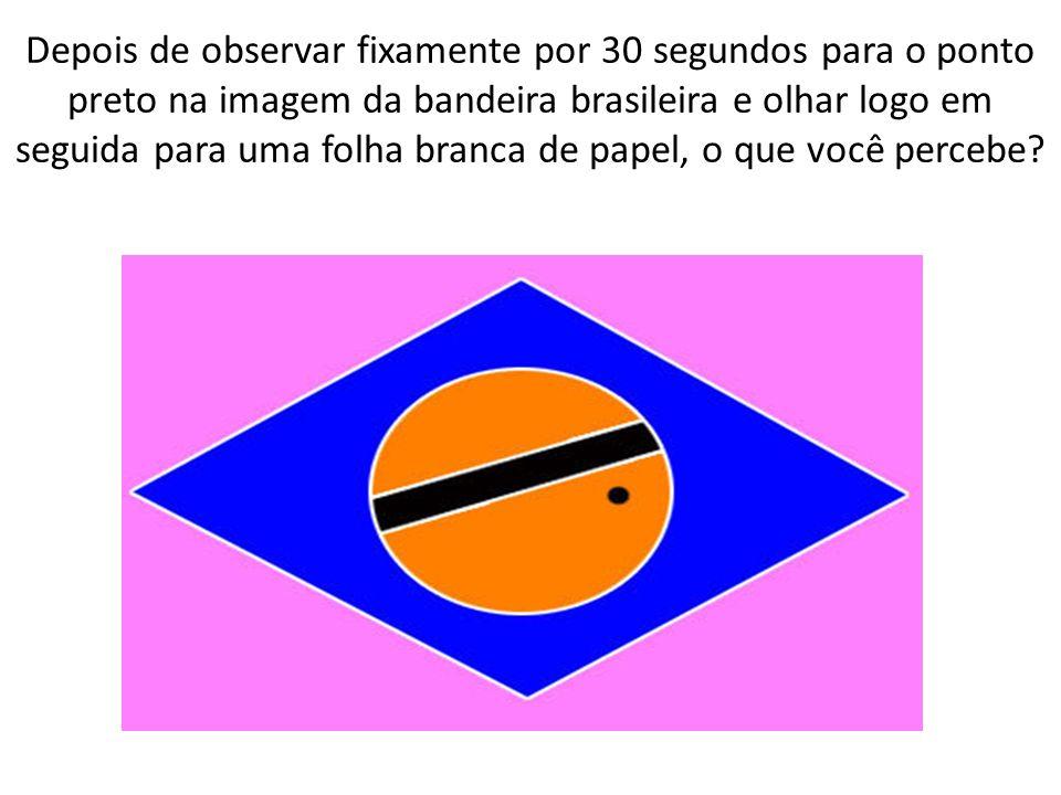 Depois de observar fixamente por 30 segundos para o ponto preto na imagem da bandeira brasileira e olhar logo em seguida para uma folha branca de papel, o que você percebe