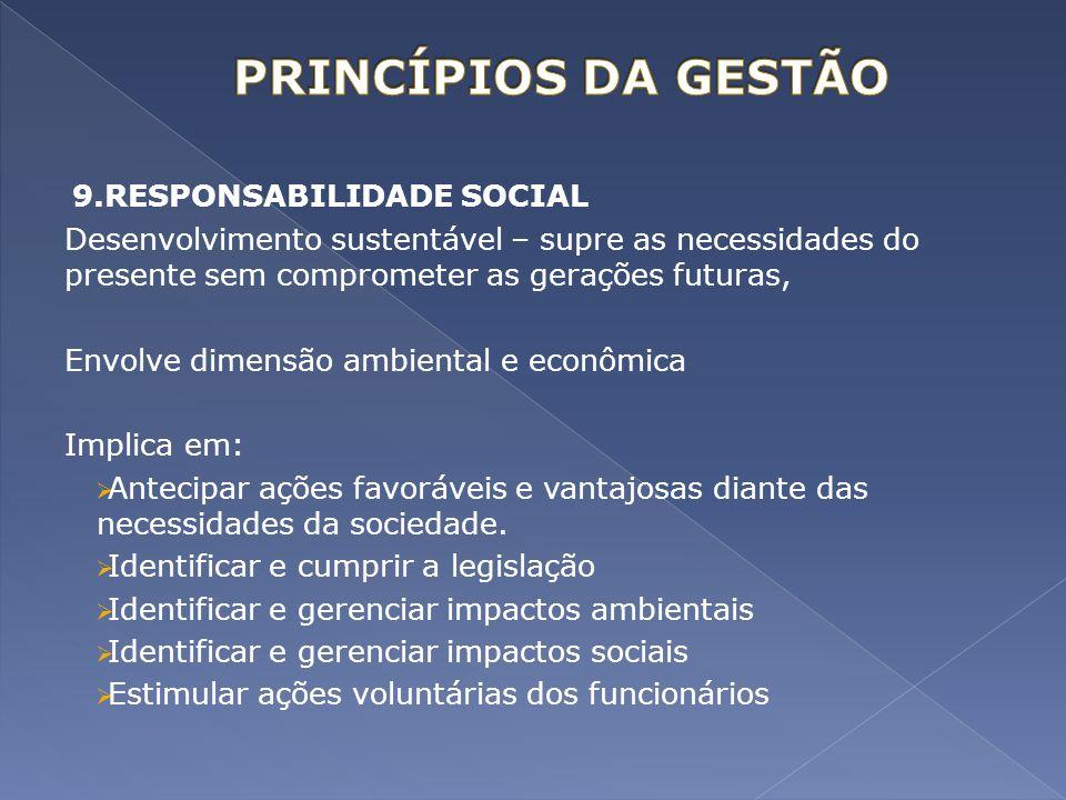 PRINCÍPIOS DA GESTÃO 9.RESPONSABILIDADE SOCIAL