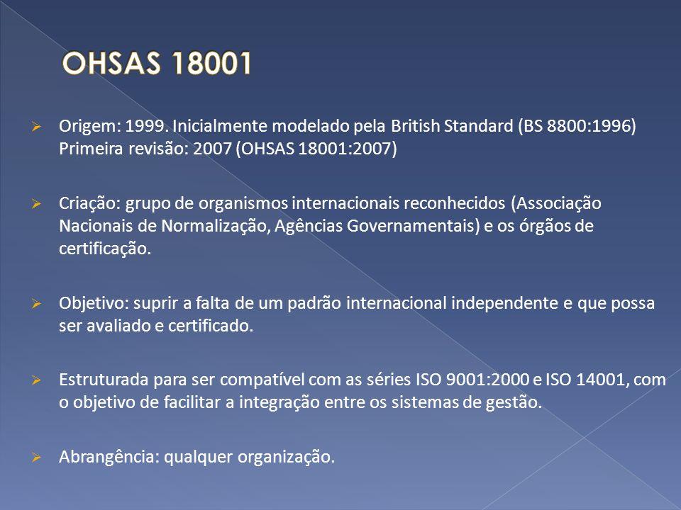 OHSAS 18001 Origem: 1999. Inicialmente modelado pela British Standard (BS 8800:1996) Primeira revisão: 2007 (OHSAS 18001:2007)