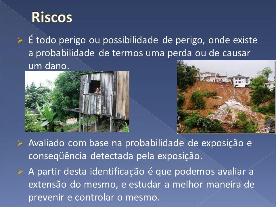 Riscos É todo perigo ou possibilidade de perigo, onde existe a probabilidade de termos uma perda ou de causar um dano.