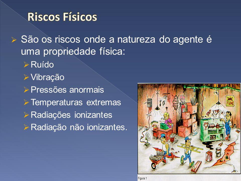 Riscos Físicos São os riscos onde a natureza do agente é uma propriedade física: Ruído. Vibração.