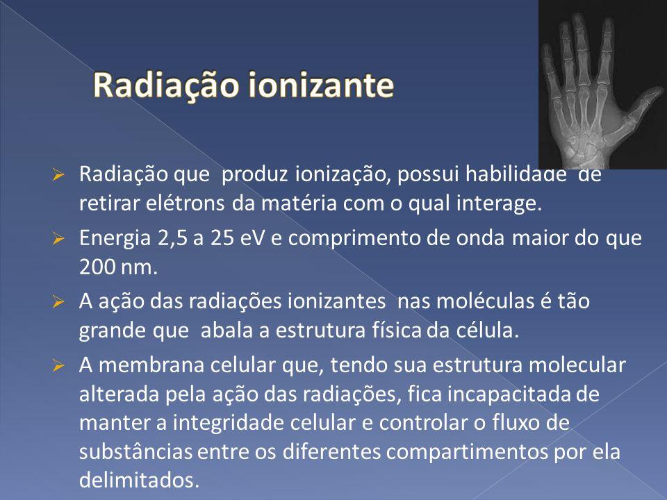 Radiação ionizante Radiação que produz ionização, possui habilidade de retirar elétrons da matéria com o qual interage.