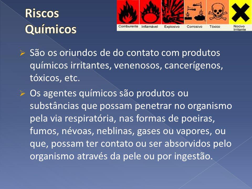 Riscos Químicos São os oriundos de do contato com produtos químicos irritantes, venenosos, cancerígenos, tóxicos, etc.