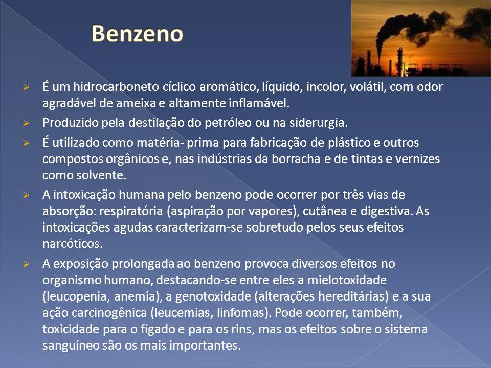 Benzeno É um hidrocarboneto cíclico aromático, líquido, incolor, volátil, com odor agradável de ameixa e altamente inflamável.