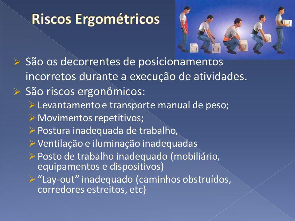 Riscos Ergométricos São os decorrentes de posicionamentos incorretos durante a execução de atividades.