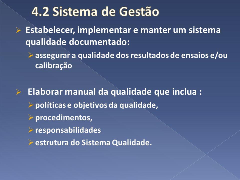 4.2 Sistema de Gestão Estabelecer, implementar e manter um sistema qualidade documentado: