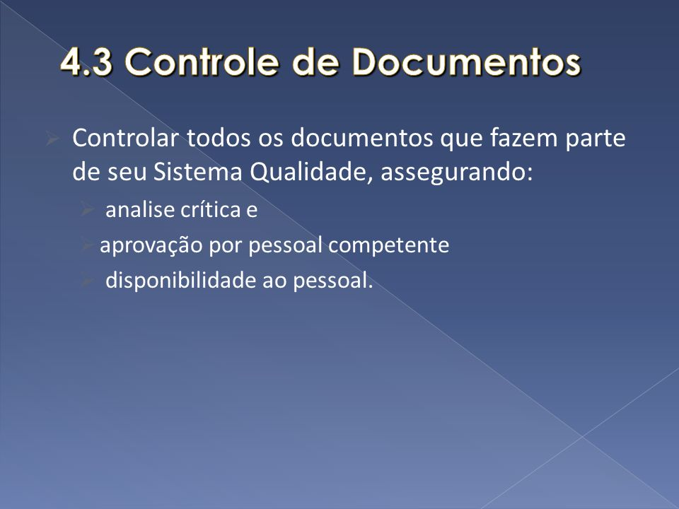 4.3 Controle de Documentos