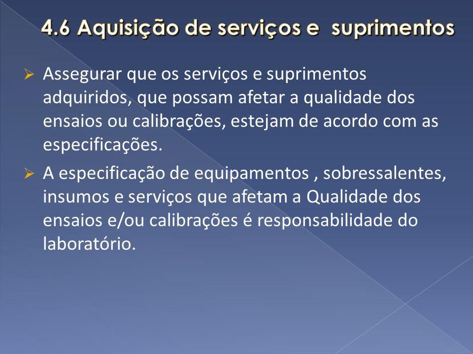 4.6 Aquisição de serviços e suprimentos