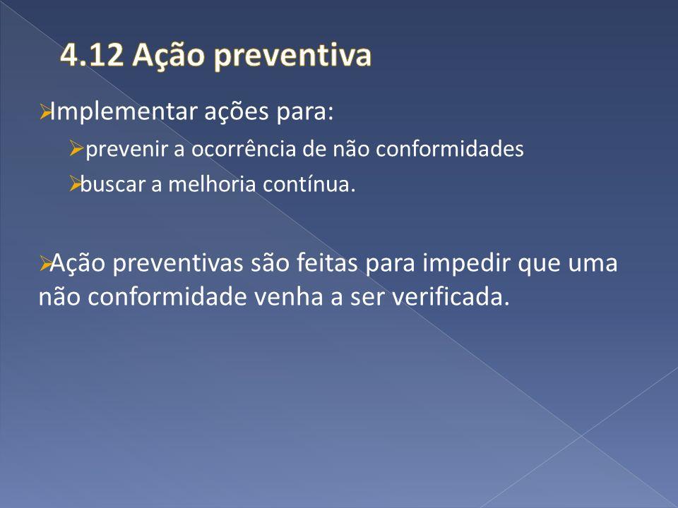 4.12 Ação preventiva Implementar ações para: