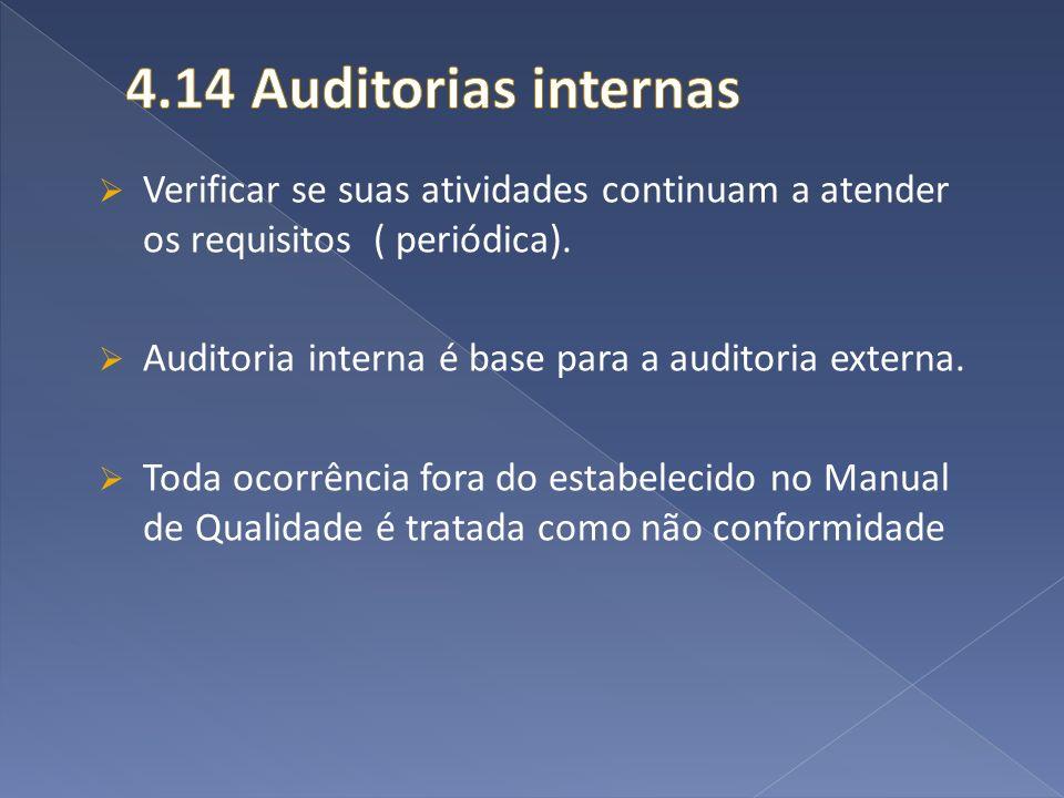 4.14 Auditorias internas Verificar se suas atividades continuam a atender os requisitos ( periódica).