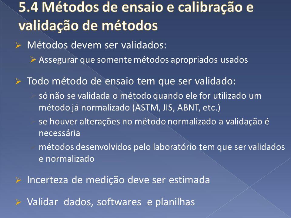 5.4 Métodos de ensaio e calibração e validação de métodos