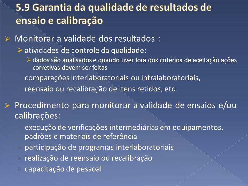 5.9 Garantia da qualidade de resultados de ensaio e calibração
