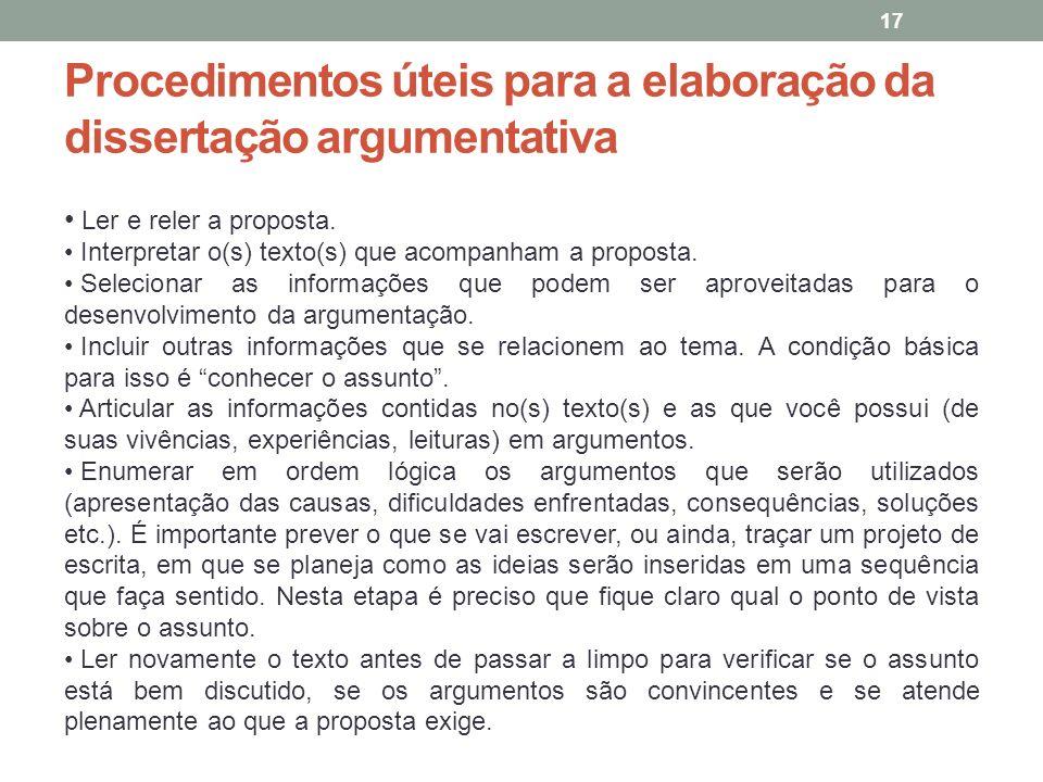 Procedimentos úteis para a elaboração da dissertação argumentativa