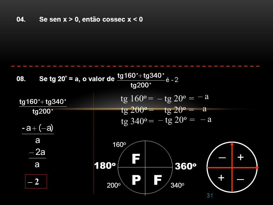 F P _ + _ + – a tg 160o = – tg 20o = tg 200o = tg 20o = a – a