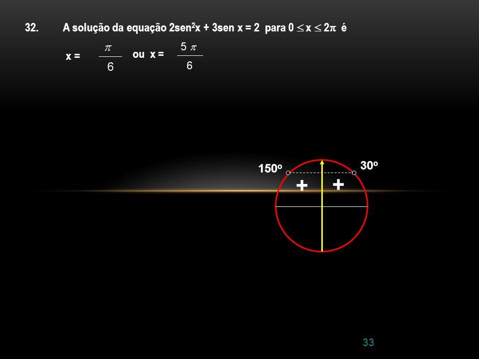 + + 32. A solução da equação 2sen2x + 3sen x = 2 para 0  x  2 é x =