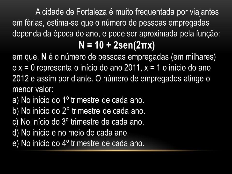 A cidade de Fortaleza é muito frequentada por viajantes em férias, estima-se que o número de pessoas empregadas dependa da época do ano, e pode ser aproximada pela função: