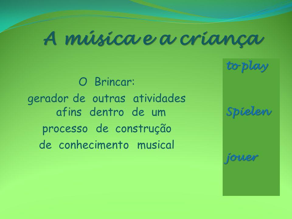 A música e a criança to play Spielen jouer
