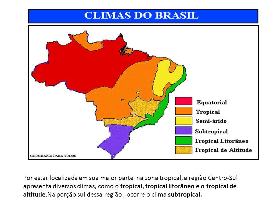 Por estar localizada em sua maior parte na zona tropical, a região Centro-Sul apresenta diversos climas, como o tropical, tropical litorâneo e o tropical de altitude.Na porção sul dessa região , ocorre o clima subtropical.
