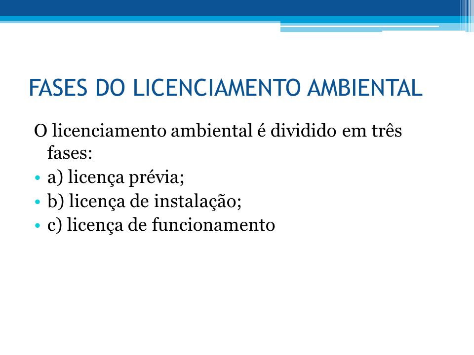 FASES DO LICENCIAMENTO AMBIENTAL