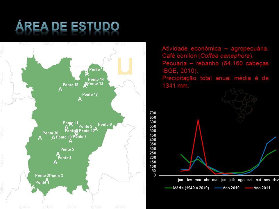 Área de estudo Atividade econômica – agropecuária. Café conilon (Coffea canephora). Pecuária – rebanho (64.160 cabeças IBGE, 2010).