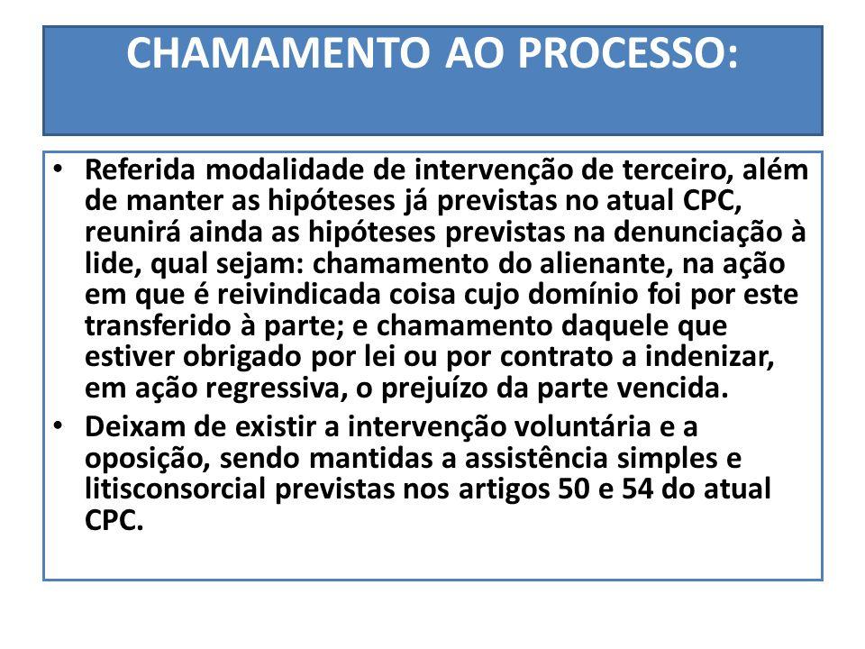 CHAMAMENTO AO PROCESSO: