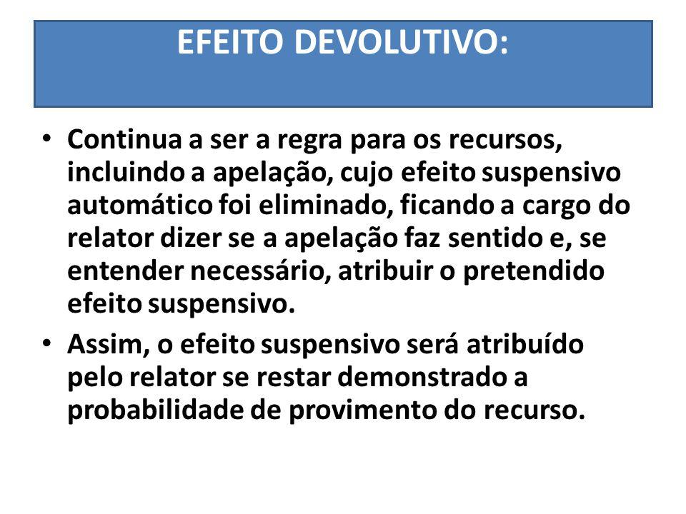 EFEITO DEVOLUTIVO: