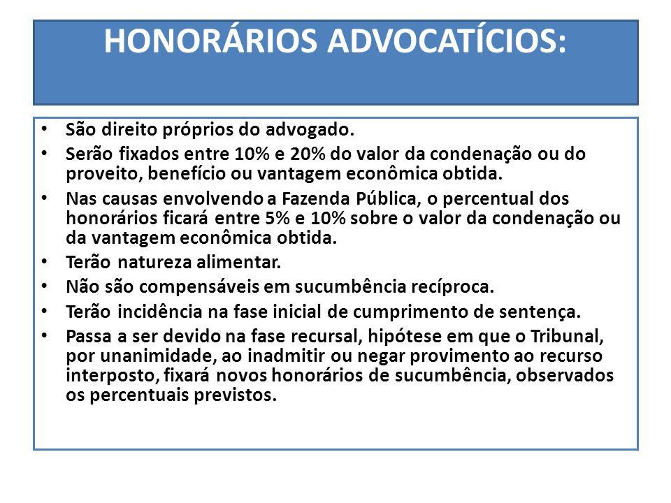 HONORÁRIOS ADVOCATÍCIOS: