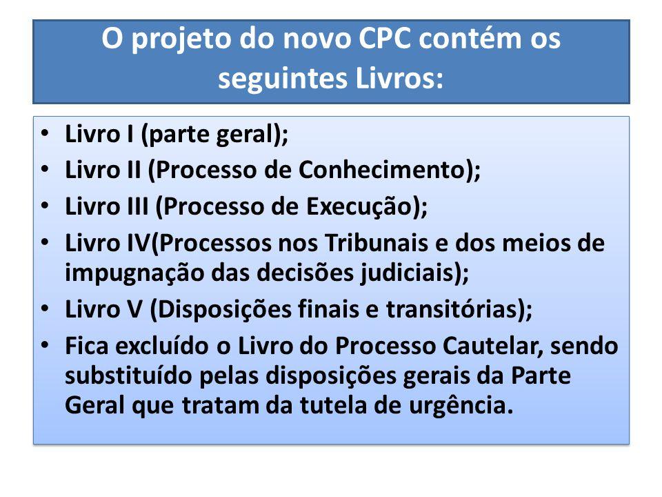 O projeto do novo CPC contém os seguintes Livros: