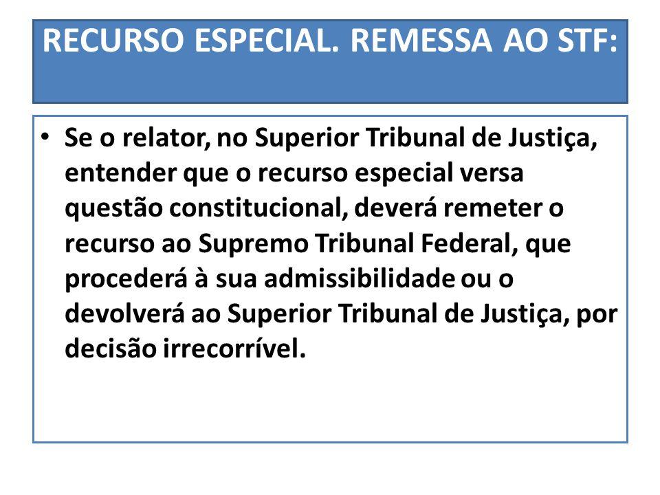 RECURSO ESPECIAL. REMESSA AO STF: