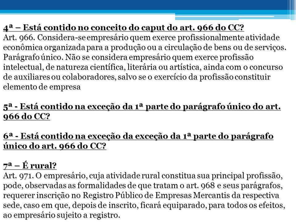 4ª – Está contido no conceito do caput do art. 966 do CC