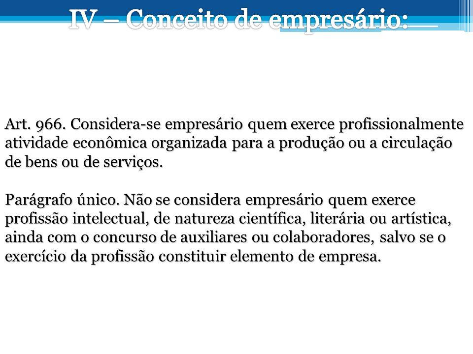 IV – Conceito de empresário: