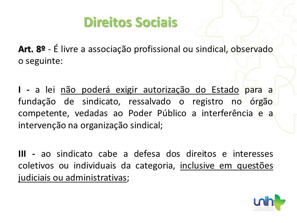 Direitos SociaisArt. 8º - É livre a associação profissional ou sindical, observado o seguinte: