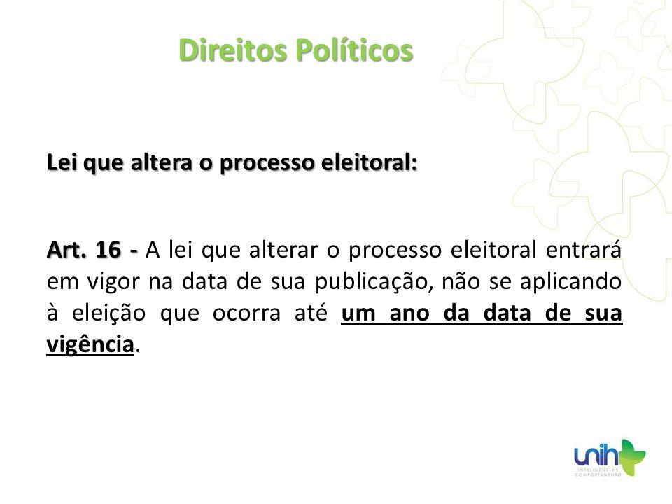 Direitos Políticos Lei que altera o processo eleitoral: