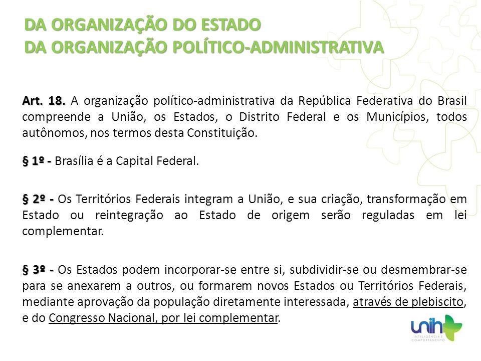 DA ORGANIZAÇÃO DO ESTADO DA ORGANIZAÇÃO POLÍTICO-ADMINISTRATIVA