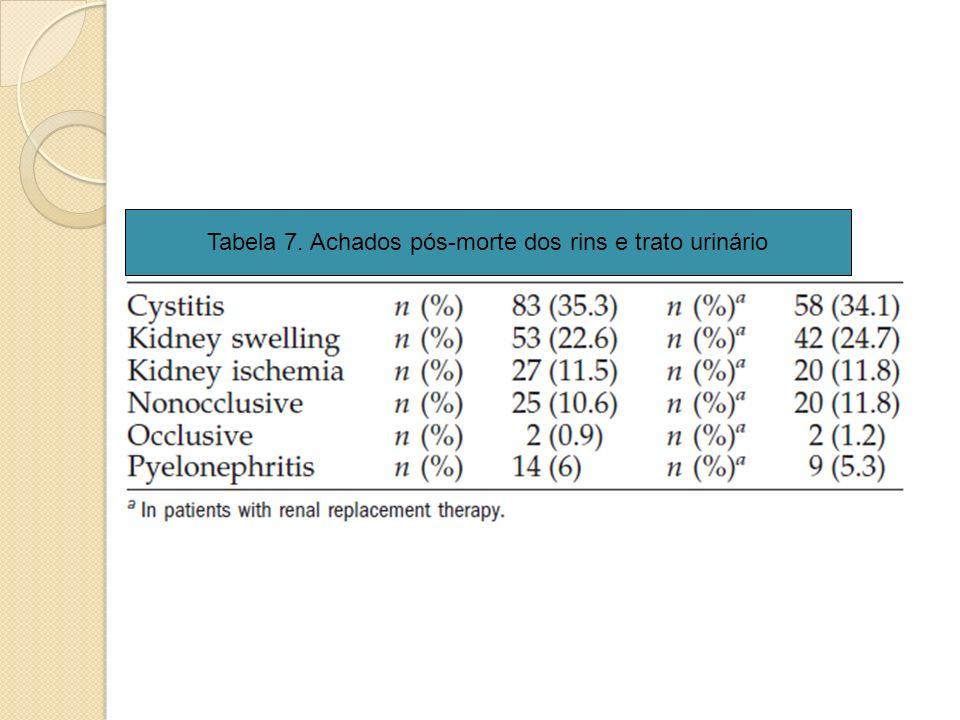 Tabela 7. Achados pós-morte dos rins e trato urinário