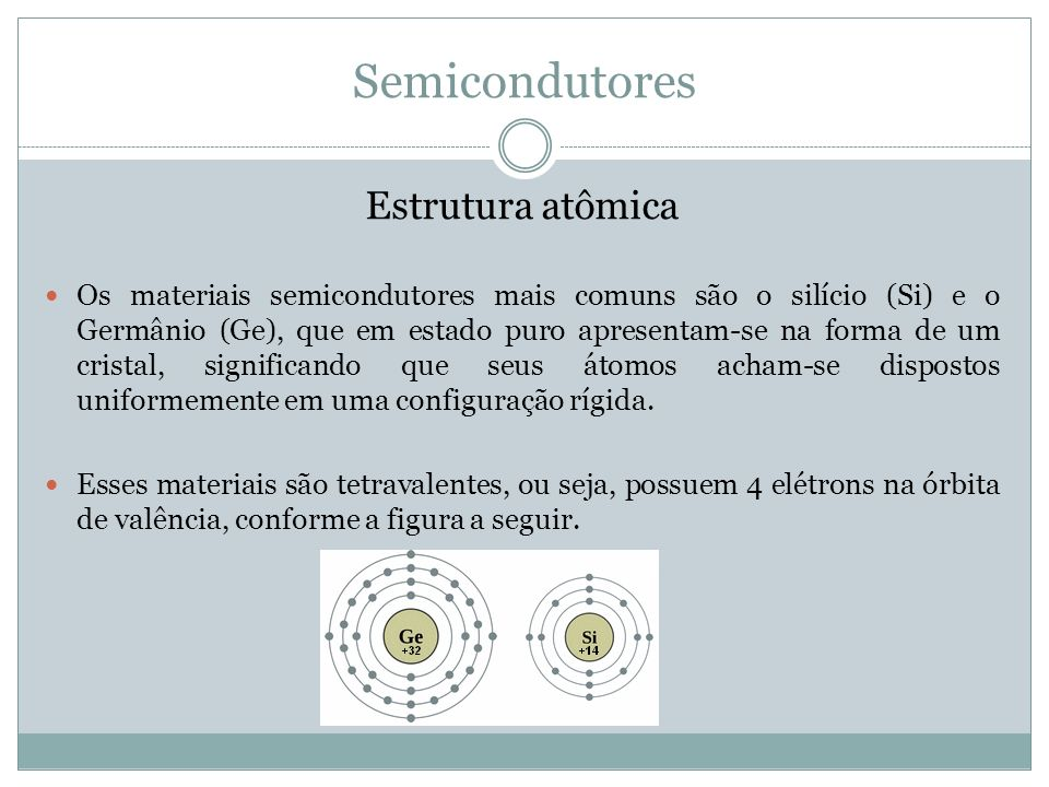Semicondutores Estrutura atômica