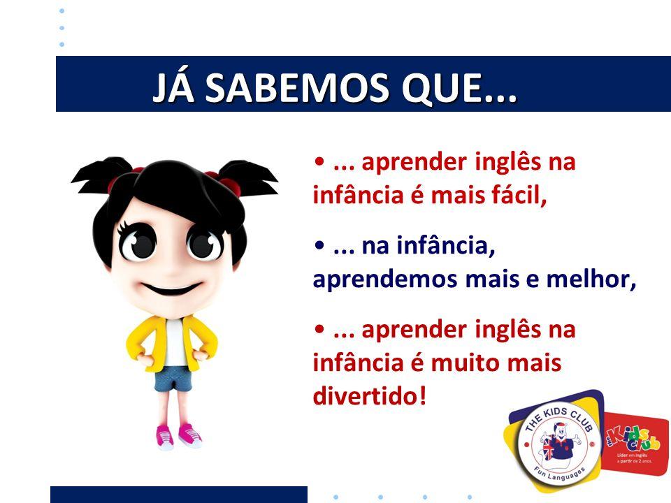 JÁ SABEMOS QUE... ... aprender inglês na infância é mais fácil,