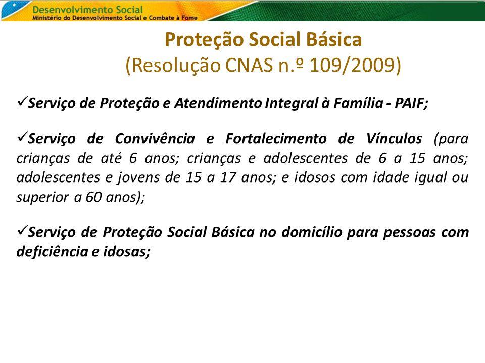 Proteção Social Básica (Resolução CNAS n.º 109/2009)