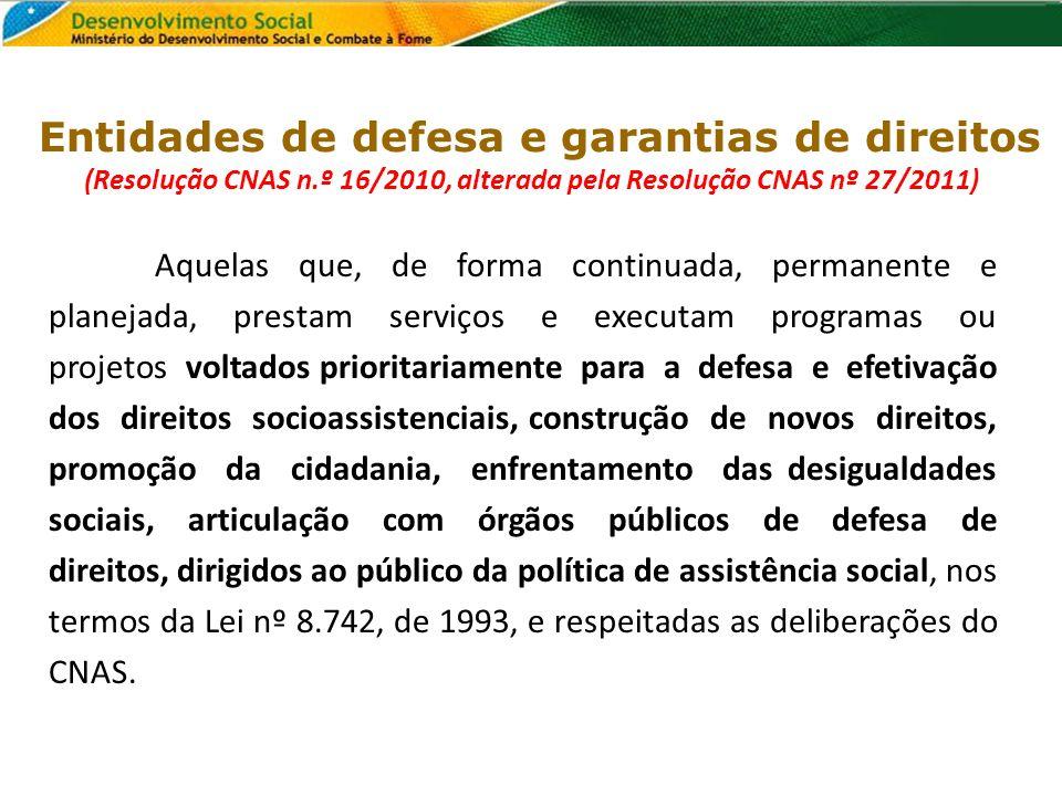 (Resolução CNAS n.º 16/2010, alterada pela Resolução CNAS nº 27/2011)