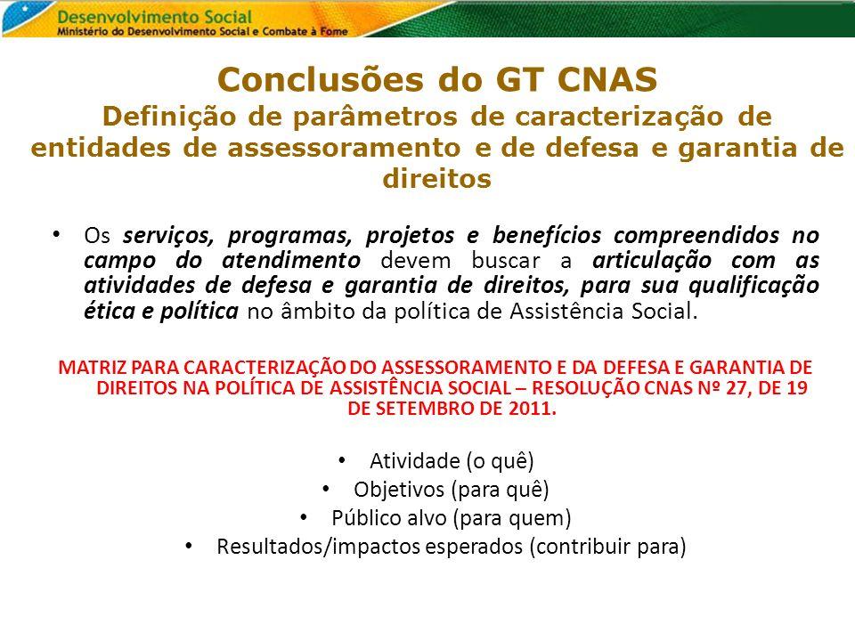 Conclusões do GT CNAS Definição de parâmetros de caracterização de entidades de assessoramento e de defesa e garantia de direitos
