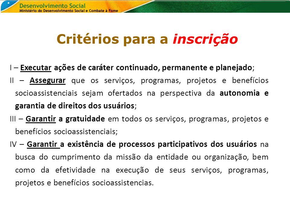 Critérios para a inscrição