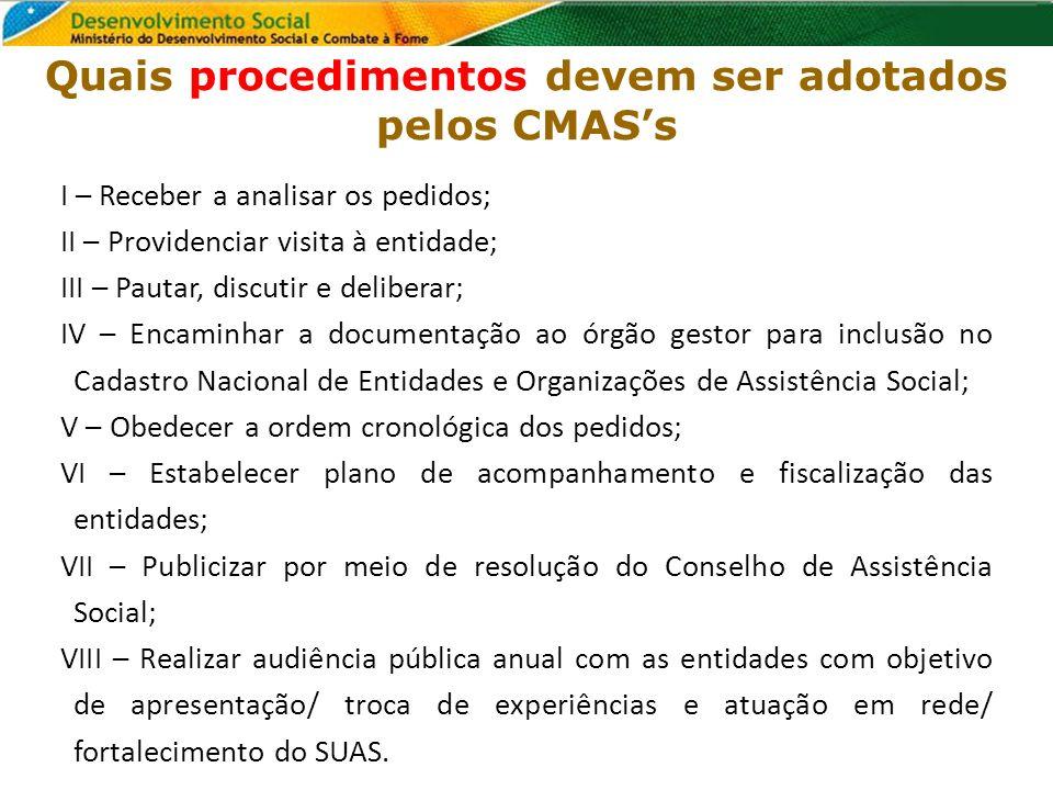 Quais procedimentos devem ser adotados pelos CMAS's