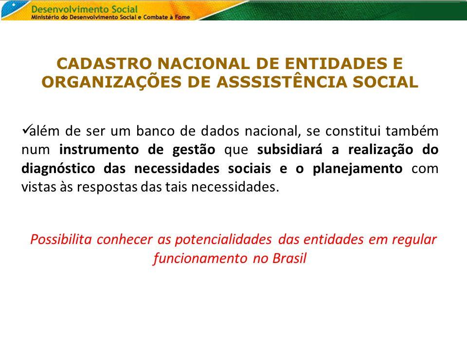 CADASTRO NACIONAL DE ENTIDADES E ORGANIZAÇÕES DE ASSSISTÊNCIA SOCIAL