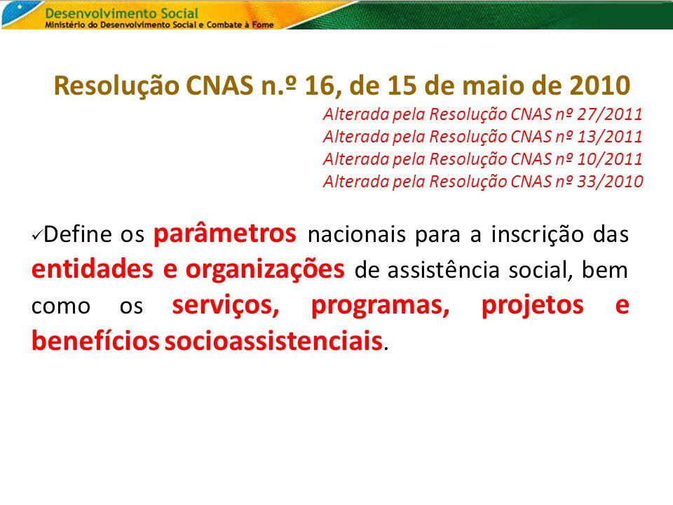 Resolução CNAS n.º 16, de 15 de maio de 2010